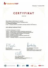 Certyfikat Akademii PARP