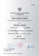 Świadectwo WSB w Toruniu