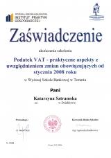 Szkolenie VAT -Zaświadczenie